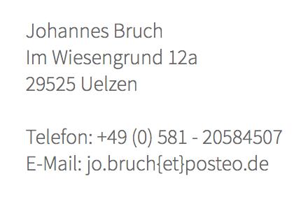 Johannes Bruch, Im Wiesengrund 12a, 29525 Uelzen Telefon: 0581 20584507